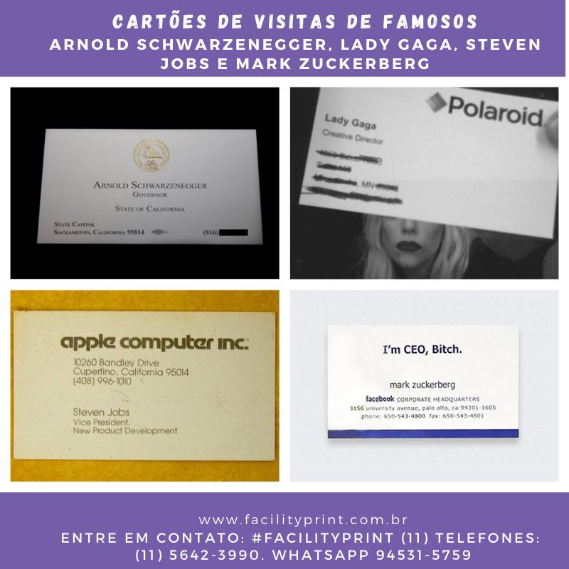 Os curiosos cartões de visitas dos famosos